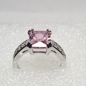 14K WG 3.58ct Pink Sapphire Ring Size 9.